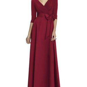 Alfred Sung V Neck Burgundy Long Gown 6